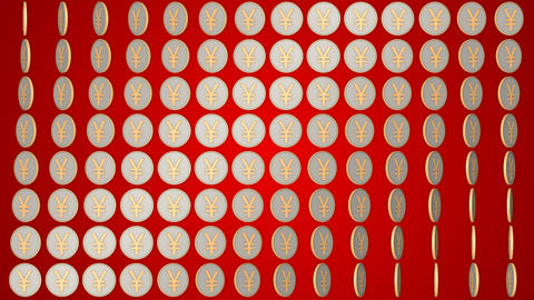 034 Chinese yuan coins china money red background rotating coins Animation