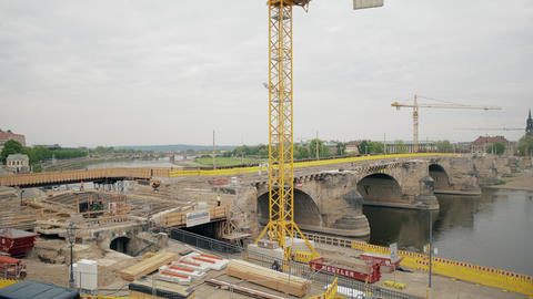 DRESDEN, GERMANY - MAY 2, 2018. Historic Augustusbrucke Bridge renovation works GIF