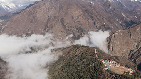 Panorama Himalayas Mountains Peak Clouds Tengboche Buddhist Temple Time Lapse 4k Footage
