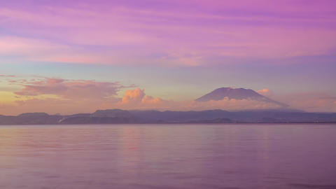 Quick Twilight over the Volcanic Island. Time Lapse Footage