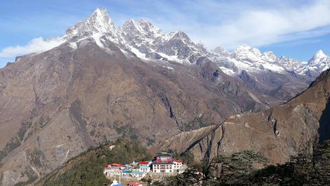 Panorama Tengboche Buddhist Temple Khumbu Himalayas 4k Footage