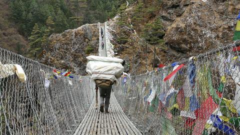 Porter Suspension Bridge Tourists Travel Nepal Himalayas Mountains 4k Live Action