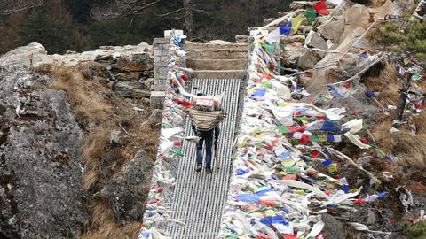 Porter Suspension Bridge Travel Nepal Himalayas Mountains 4k Live Action