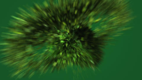 Exploding green leafs in 4K CG動画素材