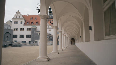Colonnade arcade of the Castle Stallhof in Dresden, Germany GIF