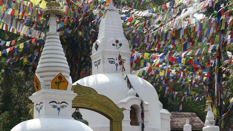 Swayambhunath Buddhist Temple Prayer Flags Kathmandu Nepal 4k Footage