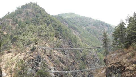 Suspension Bridges Forest Travel Nepal Himalayas Mountains 4k Live Action