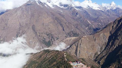 Tilt Down Tengboche Temple Monastery Tourists Travel Trekking Tourism Khumbu Footage