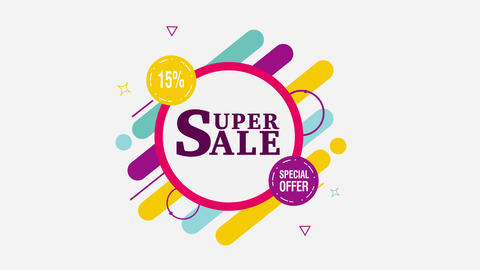 Super Sale motion tag. 15% off. Alpha channel Animation