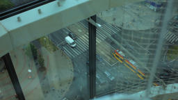 Top view of the Big CrossRoad with Cars, Tram, Cyclist, People, and Houses Footage