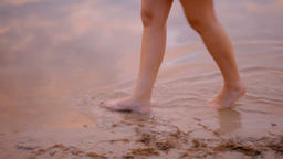 Young Woman Walking in the Water of the Lake along the Shore in the Summer 영상물