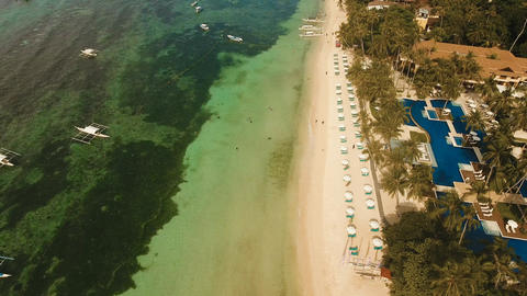 Aerial view beautiful Alona beach on a tropical island Bohol. Philippines フォト