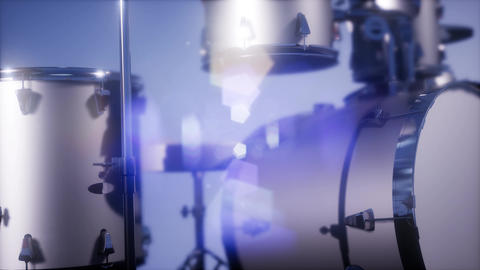 4k drum set with DOF and lense flair 영상물