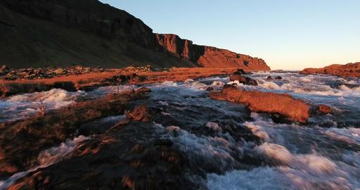 Aerial Iceland River Rapids ビデオ