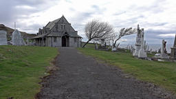 Llandudno / Wales, UK - April 22 2018 : St Tudno's church and cemetery on the Footage