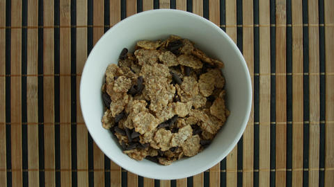 Cereal breakfast with milk top-view ภาพวิดีโอ
