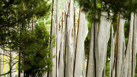 Buddhist Prayer Flags Blowing In The Wind 영상물
