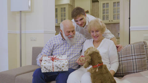 Grandparents celebrates Christmas with grandson and their dog ビデオ