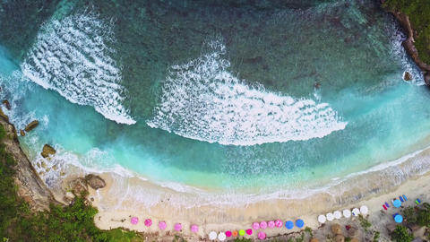 Aerial view of tropical beach with beautiful white surf Footage