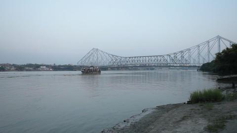 Bridge Through River stock footage