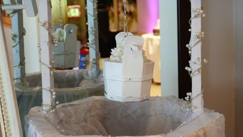 Shot of wedding reception dinner table decoration Photo