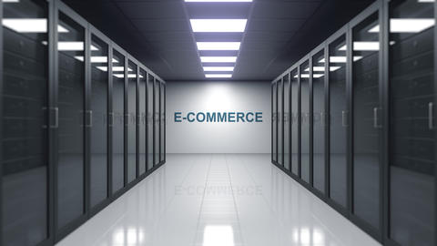 E-COMMERCE caption on the wall of a server room. Conceptual 3D animation Live Action