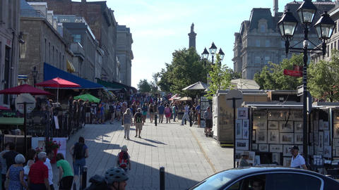 Old Montreal, Montreal Old Port tourist area Footage