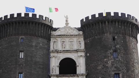 Naples, Italy - Castel Nuovo facade with triumphal arch and gatehouse GIF