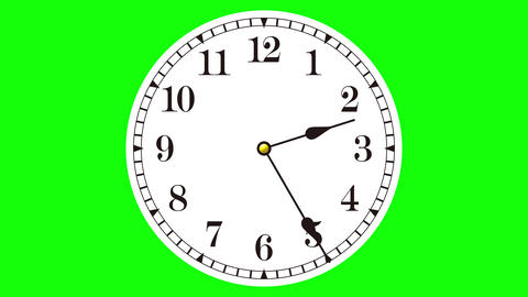 Close-up of colorful animated clock time lapse on a chroma key background Animation