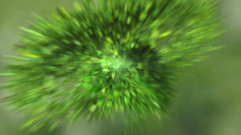 Exploding green leafs in 4K Animation