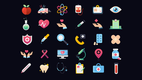 30 Animated Medical and Healthcare Icons Vol.1 After Effects Template