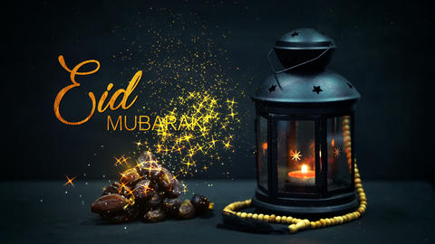 Ramadan Kareem Greeting Gold Glitter Particles. Ramadan Candle Lantern with Animation
