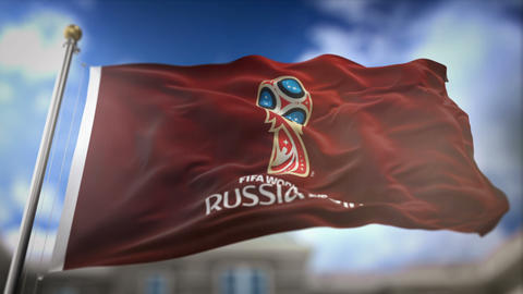 FIFA World Cup 2018 Russia Red Flag Waving Slow Motion 3D Rendering Blue Sky Animation