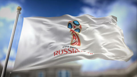 FIFA World Cup 2018 Russia White Flag Waving Slow Motion 3D Rendering Blue Sky Animation