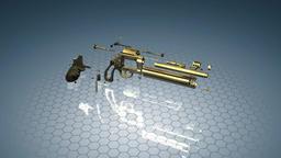 Revolver firearm gun chrome cowboy western, alpha channel. 3D animation loop Footage
