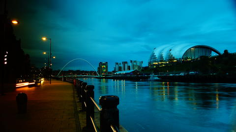 View of Newcastle at dusk, under the bridge フォト