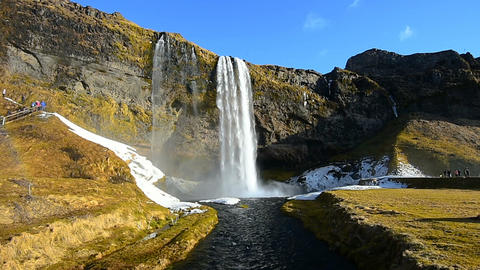 Seljalandsfoss waterfall, Beautiful waterfall in Iceland Live Action