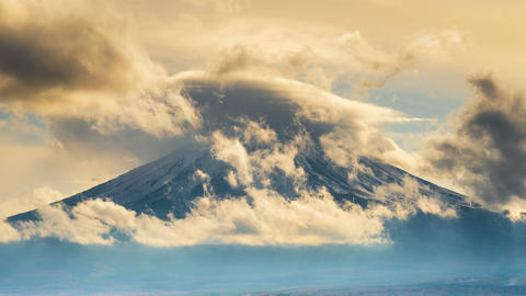Time lapse of Fuji mountains and clouds in Japan Footage