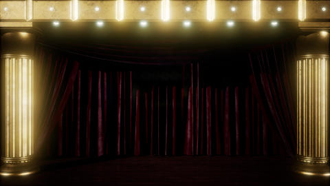 curtain stage with golden podium and loop lights Footage