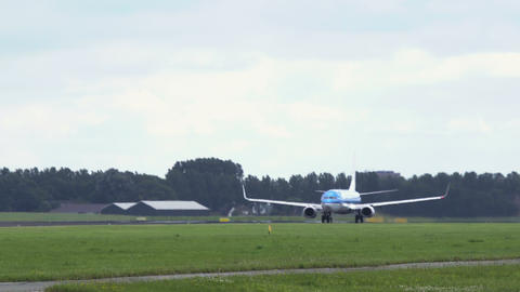Boeing 737 of KLM Arilines accelerates and takes off Footage