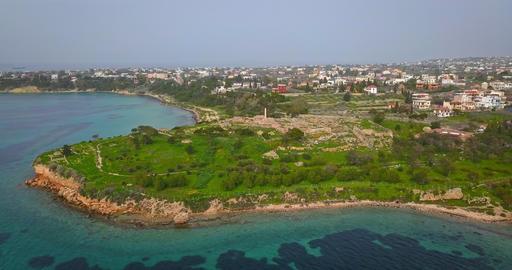Aerial view of Temple of Apollo (Hill of Kolona) on Aegina island, Greece 영상물