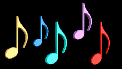 Dancing multicolored musical notes. 3d musical notes on black background Animation