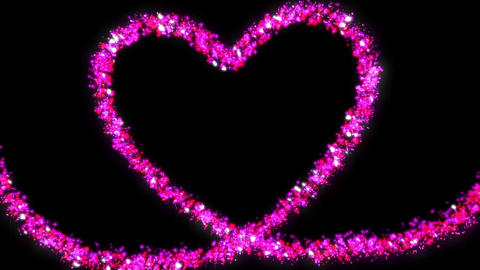 Pink glitter a heart made of stars and hearts Animation
