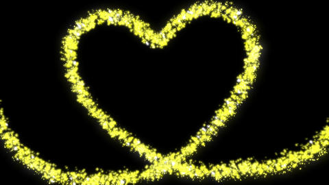 Yellow glitter a heart made of stars and hearts Animation