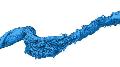 4K slow motion blue vortex paint flow with alpha matte Animation