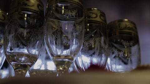Footage of stylish wine glasses for wine tasting in fine dining winery with wine Footage