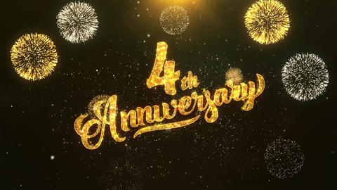 4th happy anniversary Celebration, Wishes, Greeting Text on Golden Firework Animation