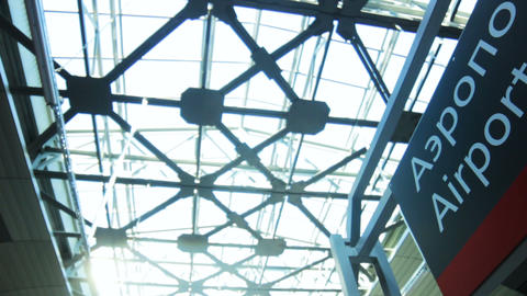 modern airport ceiling and plate over entrance ビデオ