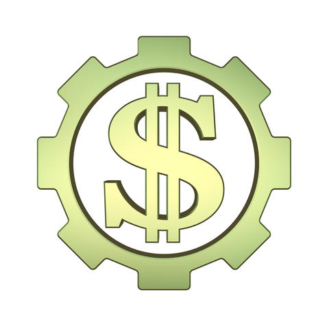 Money concept 3d icon with gear and dollar sign フォト