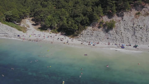 Flight over the wild beach. Mountains and cliffs Stock Video Footage